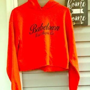Orange Crop top hoodie